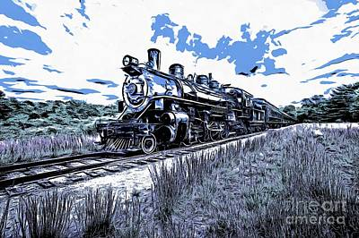 Full Steam Through The Meadow Graphic Poster by Edward Fielding