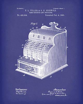Fuller And Griswold Cash Register 1890 Patent Art Blue Poster by Prior Art Design