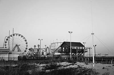 Fun At The Shore Seaside Park Nj Black And White Poster by Terry DeLuco