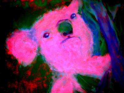 Funky Koala Bear In Pink Poster by Sue Jacobi