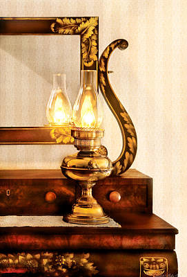 Furniture - Lamp - The Bureau And Lantern Poster by Mike Savad