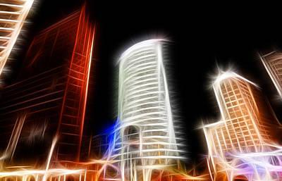 Futuristic Buildings In Berlin Potsdamer Platz Digital Art Poster by Matthias Hauser