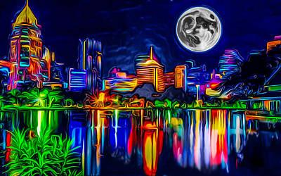 Futuristic Moon Rise Poster by Ron Fleishman