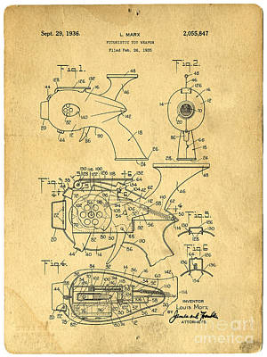 Futuristic Toy Gun Weapon Patent Poster by Edward Fielding