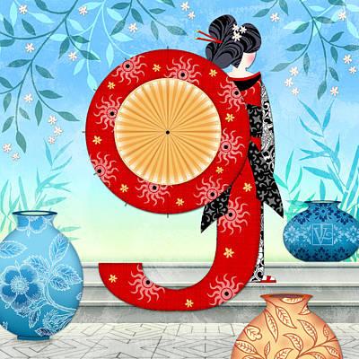 G Is For Geisha Girl Poster by Valerie Drake Lesiak