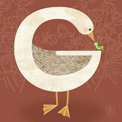G Is For Goose Poster by Valerie Drake Lesiak