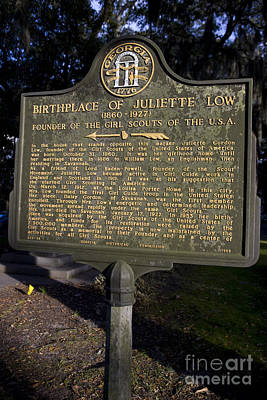 Ga-25-34 Birthplace Of Juliette Low 1860-1927 Founder Of The Girl Scouts Of The U.s.a. Poster by Jason O Watson