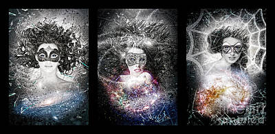 Galaxy Triptic Poster by Mo T