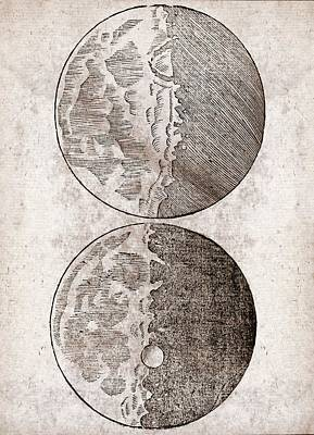 Galileo's Moon Observations Poster by Middle Temple Library