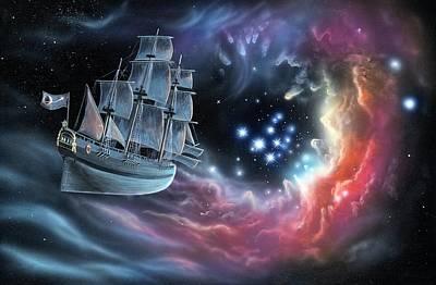 Galleon Amongst The Stars Poster by Richard Bizley