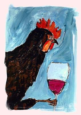 Gallo Con Vino Poster by Pj T