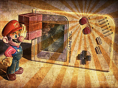 Game Boy And Mario - Vintage Poster by Stefano Senise