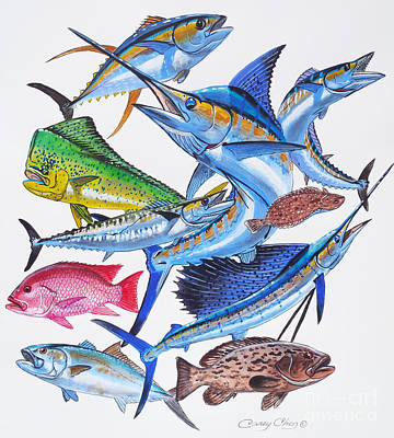 Gamefish Collage Poster by Carey Chen