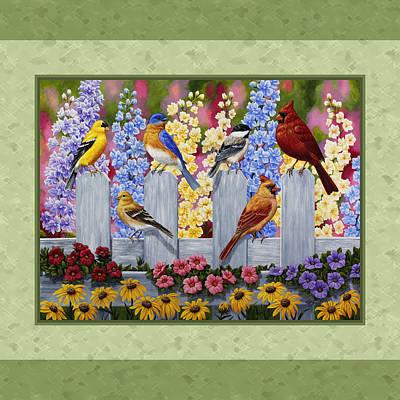 Garden Birds Duvet Cover Green Poster by Crista Forest