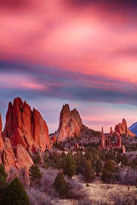Garden Of The Gods Sunset Sky Portrait Poster by James BO  Insogna
