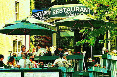 Garden Party Celebrations Under The Cool Green Umbrellas Of Restaurant Chase Cafe Art Scene Poster by Carole Spandau