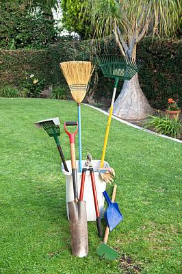 Gardening Tools On Grass Poster by Joe Belanger