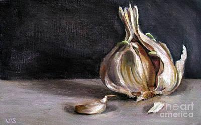 Lebensmittel Poster featuring the painting Garlic by Ulrike Miesen-Schuermann