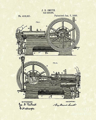 Gas Engine 1890 Patent Art Poster by Prior Art Design