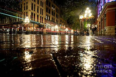 Gastown Rainy Night 2 Poster by Terry Elniski