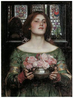 Gather Ye Rosebuds While Ye May Poster by J W Waterhouse