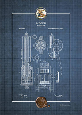 Gatling Machine Gun - Vintage Patent Blueprint Poster by Serge Averbukh