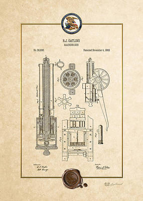 Gatling Machine Gun - Vintage Patent Document Poster by Serge Averbukh