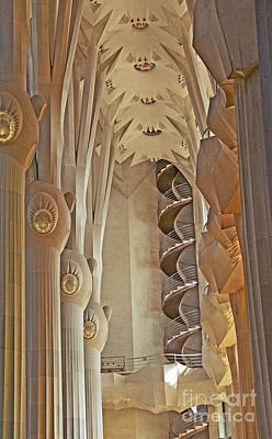 Gaudi's Spiral Stairs Poster by Cindy Lee Longhini