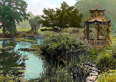 Gazebo And Pond Poster by Terry Reynoldson