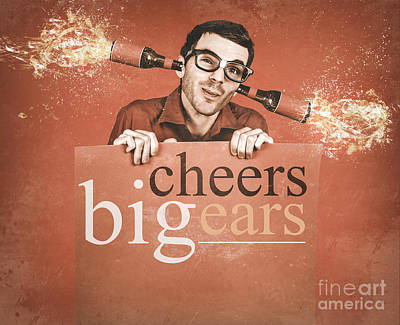 Geek Holding Blank Banner With Exploding Ear Beers Poster by Jorgo Photography - Wall Art Gallery