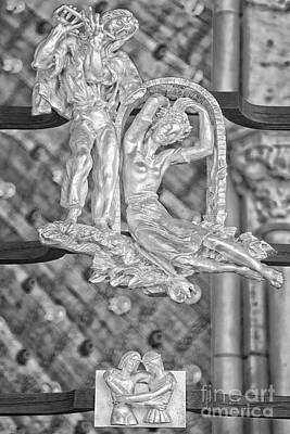 Gemini Zodiac Sign - St Vitus Cathedral - Prague - Black And White Poster by Ian Monk