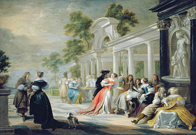 Generic Garden Scene, 1600 Oil On Canvas Poster by Flemish School