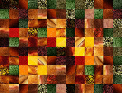 Geometric Abstract Quilted Meadow Poster by Irina Sztukowski