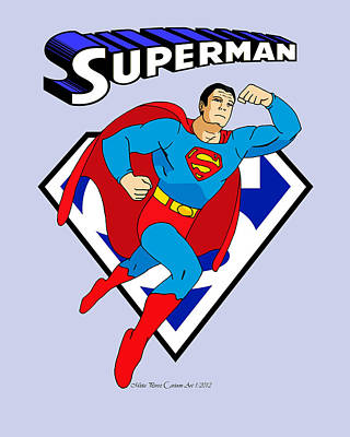 George Reeves Superman Poster by Mista Perez Cartoon Art