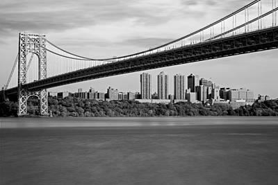 George Washington Bridge In Autumn Bw Poster by Susan Candelario