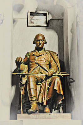 George Washington Statue At Valley Forge Chapel Poster by Bill Cannon