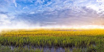 Georgia Coastal Marshes - Sunrise Panorama Poster by Mark E Tisdale