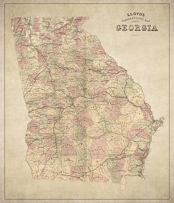 Georgia Map Art - Vintage Antique Map Of Georgia Poster by World Art Prints And Designs