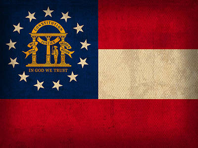 Georgia State Flag Art On Worn Canvas Poster by Design Turnpike