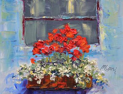 Geraniums Sunbathing Poster by Marie Green