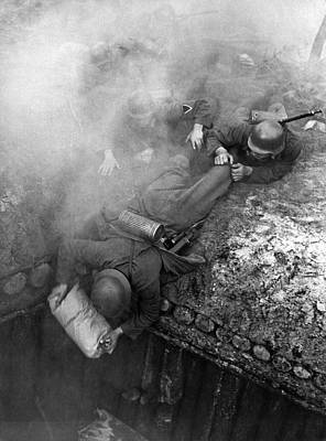 German Soldiers Launch A Suprise Attack On Bunker 17. Poster by Underwood Archives
