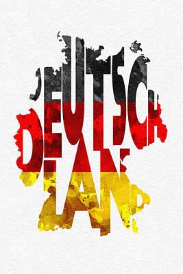 Germany Typographic Map Flag Poster by Ayse Deniz