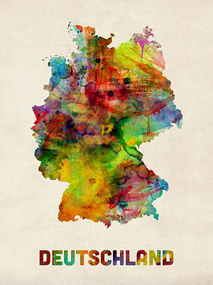 Germany Watercolor Map Deutschland Poster by Michael Tompsett