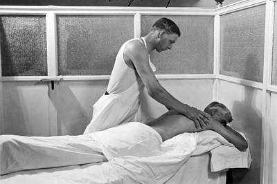 Getting A Massage At Sanitarium Poster by Underwood Archives