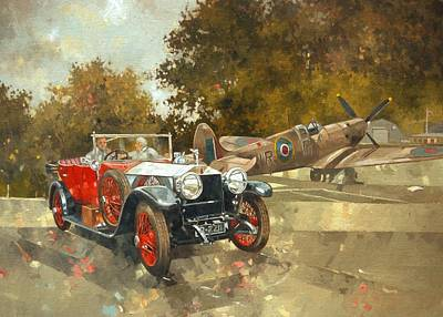 Ghost And Spitfire Oil On Canvas Poster by Peter Miller