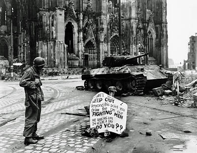 Gi Warning Sign In Cologne During World War II Poster by Mountain Dreams