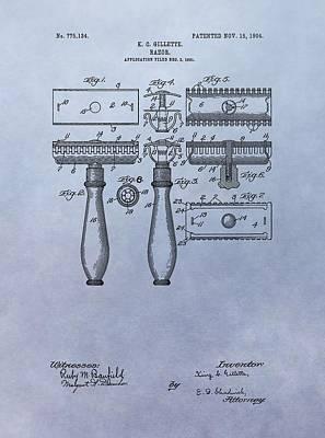 Gillette Razor Patent Poster by Dan Sproul