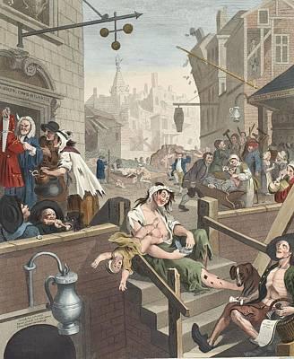 Gin Lane, Illustration From Hogarth Poster by William Hogarth