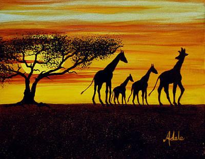 Giraffe Silhouette  Poster by Adele Moscaritolo