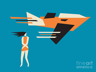 Girl And Airplane Poster by Igor Kislev